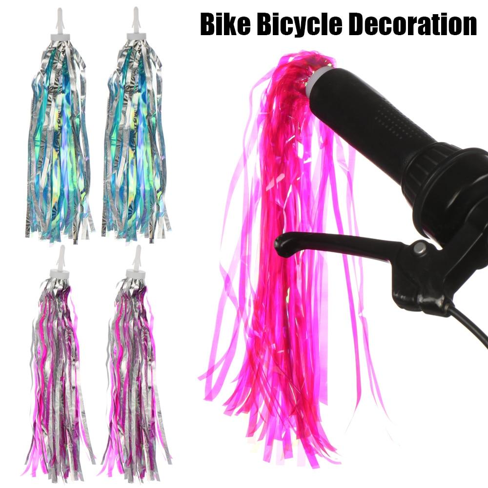 2Pcs/Bag Colorful Bike Bicycle Cycling Tricycle Handlebar Tassels Kids Girls Boys Handlebar Streamers Tassels Daily Supplies