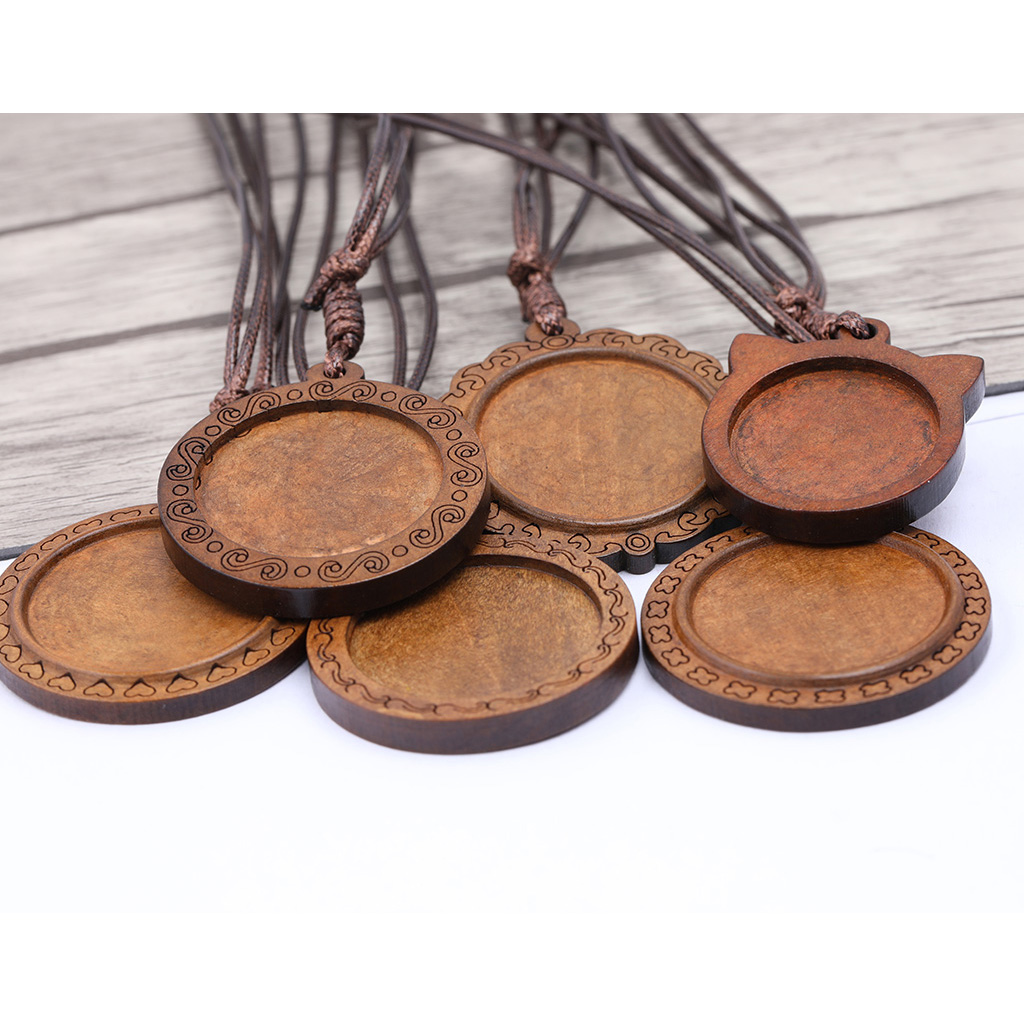 2pcs Fit 25mm 30mm Round Cabochon Wood Pendant Base Setting Trays Diy Leather Cord Necklace Bezels For Jewelry Making Findings