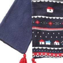 Рождественская осенне-зимняя одежда унисекс для детей, Балаклава Флисовая утепленная одежда с рисунком маленького домика, детский шарф