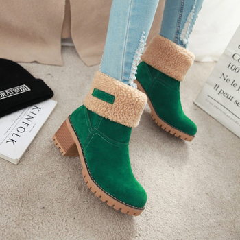 Women's Suede Snow Boots Winter Cotton Shoes High Heeled Shoes  Warm Plush Faux Fur Ankle Boots  Double Wear Plush Thermal Boots 8