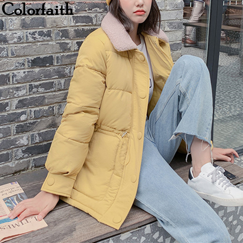Colorfaith New 2019 Autumn Winter Women   Down   Jacket   Coat   Loose Thicken Warm Elastic Waist Pockets Quilted   Coat   Puffer JK639