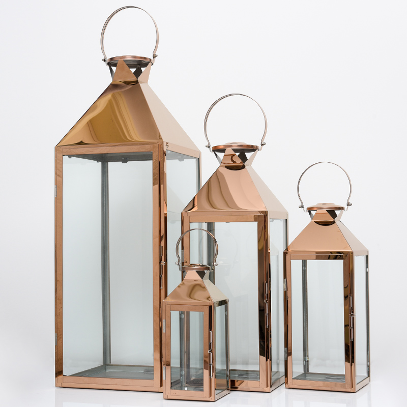 Nordic Glass Iron Candle Holders Floor Candle Lantern Windproof