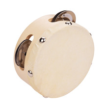 4 Inch Hand Tambourine with Metal Single Row Jingles Sheepskin Drum Skin Wooden Tambourines Entertainment Musical party for kids