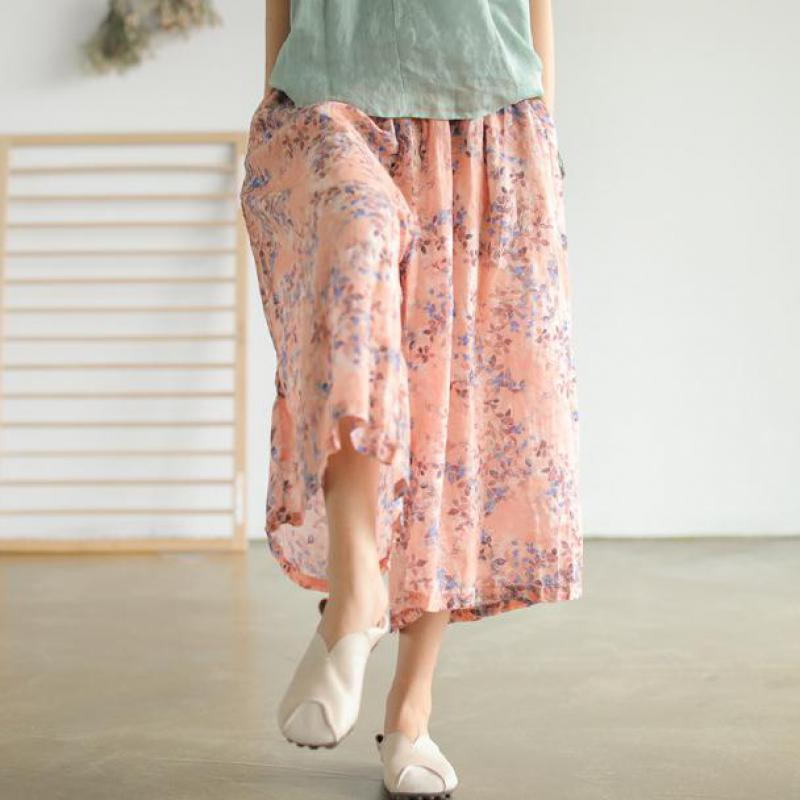 Summer Pants Women Clothes 2019 New Ankle-length Pants Loose Casual Print Wide Leg Pants Elastic Waist Women Pants