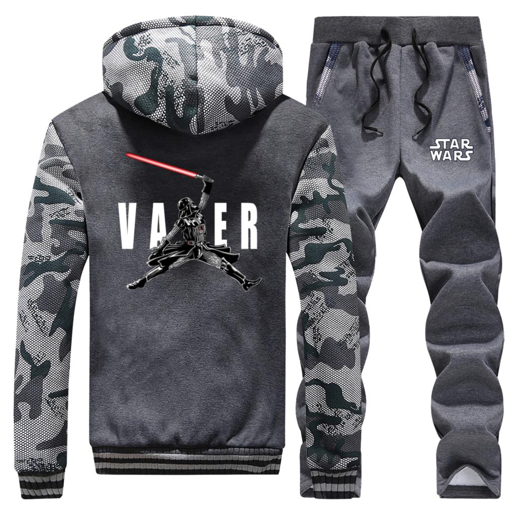 Star Wars Hoodies Fleece Pants Vader Brand Tracksuit 2 Piece Pants Winter Thick Sweatshirts Bodywarmer Camouflage Men's Jogging