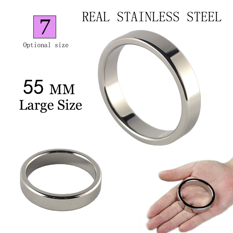 Heavy Metal Cock Ring For Men 55mm Stainless Steel Cockring 2inch Big Penis Sex Rig 50mm 45mm Ejaculant Delay Erection Ring