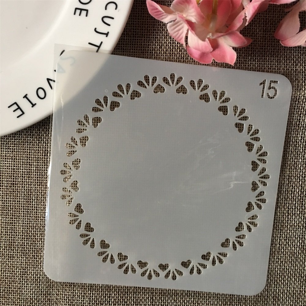 13cm Small Hearts Circle Round DIY Layering Stencils Wall Painting Scrapbook Coloring Embossing Album Decorative Card Template