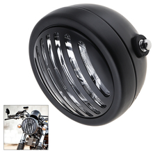 Universal 7 Inch Motorcycle Retro Refit Metal Headlight Black Color with Grill Cover Fit for Harley Cafe Racer