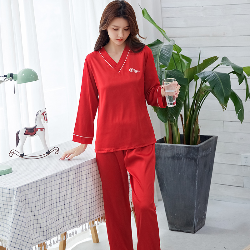 Women's Pajamas Korean Version Of The Ice Silk Long-sleeved 2 Piece Suit Simulation Silk Solid Color Thin Sleepwear Home Service