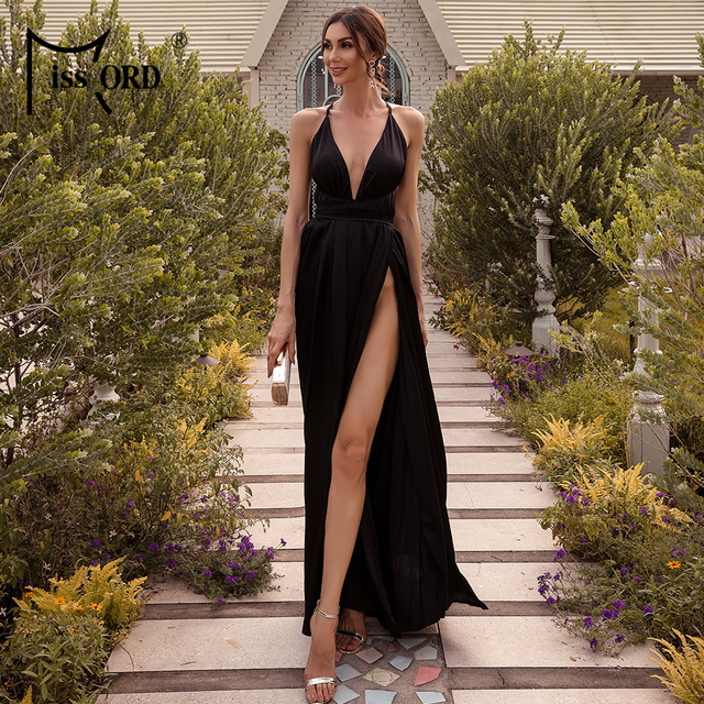 Missord Summer Female V-neck Backless Evening Party Dress High Split Backless Holiday Beach Dresses Sexy Maxi Dress FT2462 6