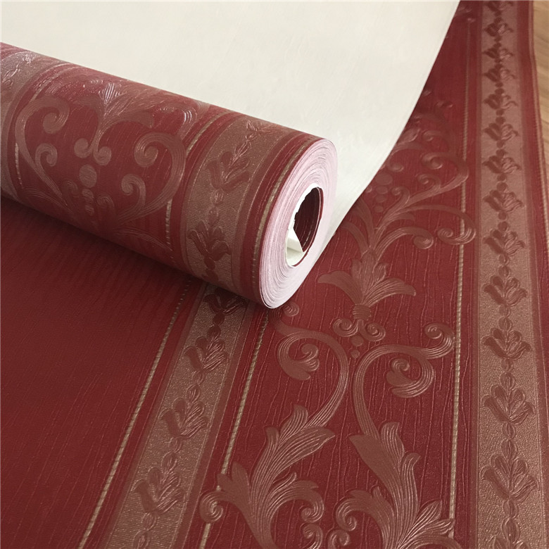 Red Vertical Striped Coffee Color European Flower Damascus Wallpaper Stock Waterproof PVC Living Room Bedroom Wallpaper Plant