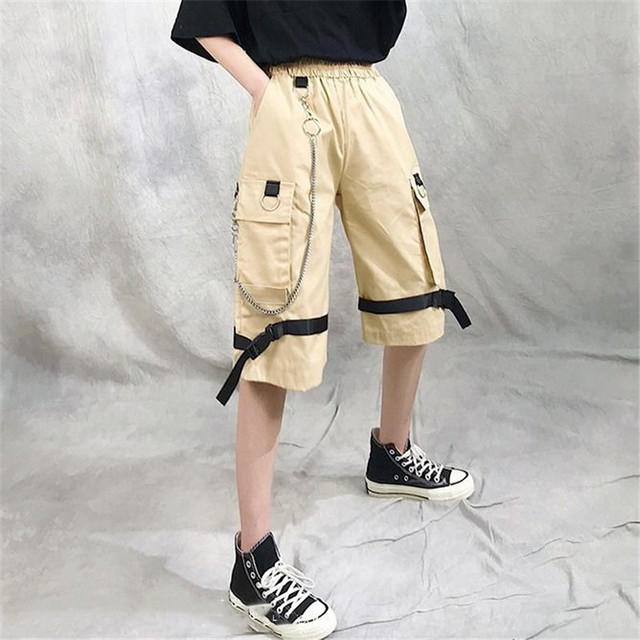 Harajuku Streetwear Women Casual Harem shorts With Chain Solid Black Cargo Gothic Cool Fashion Hip Hop Long Trousers Capris 5