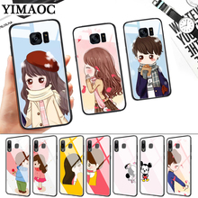 Couple Boyfriend Girlfriend Glass Case for Samsung S7 Edge S8 S9 S10 Plus S10E Note 8 9 10 A10 A30 A40 A50 A60 A70 стоимость