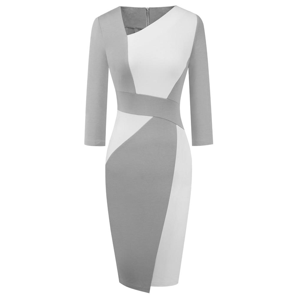 Vintage Women Patchwork Asymmetrical Collar Elegant Casual Work Office Sheath Slim Dress EB517 10