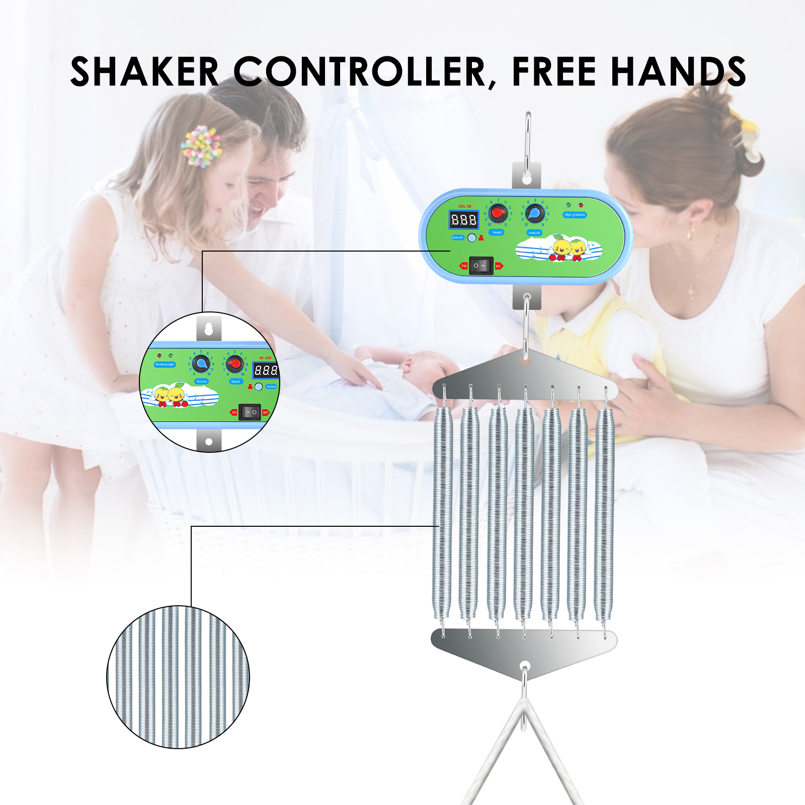 Baby Swing Replacement Motor Electric Baby Cradle Controller With Adjustable Timer Swing Spring Electric Baby Swing