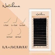 NATUHANA L/L +/LC/LD/LU(M) onda de Cílios Falsos Extensão 8-15Mix Matt Black PBT Cílios Vison para Enxertia L Em Forma de Maquiagem Cílios