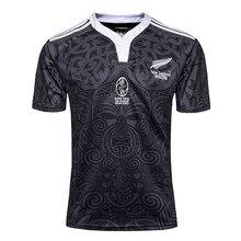 S-3XL nova zelândia 100 aniversário comemorativo rugby esportes camiseta impressão de alta densidade no colar com nervuras com punhos elásticos