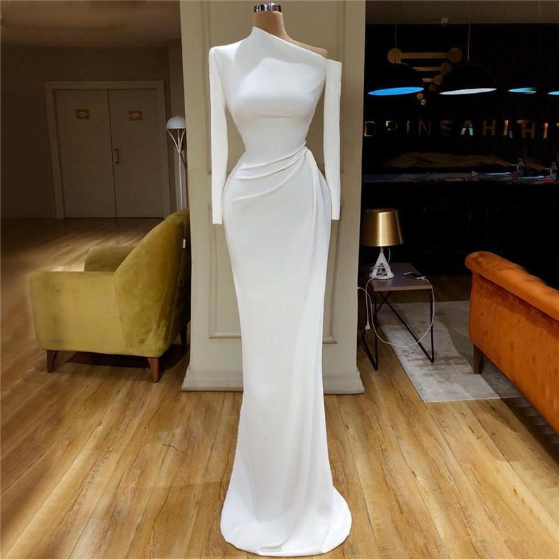Elegant Satin Mermaid Prom Dresses Long Sleeve One Shoulder Sweep Train Formal Dress Evening Gowns  Robe De Soiree