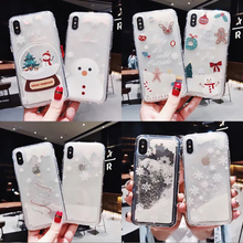 Glitter Christmas Phone Case For iphone 6 6S 7 8 Plus X XR XS MAX Dynamic Liquid Quicksand Cover Cases