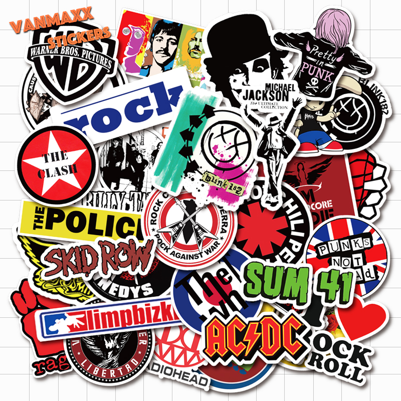 VANMAXX 50+2 PCS Rock Punk Band Music Stickers Waterproof Vinyl Decal For Laptop Helmet Bicycle Luggage Guitar Car Stickers