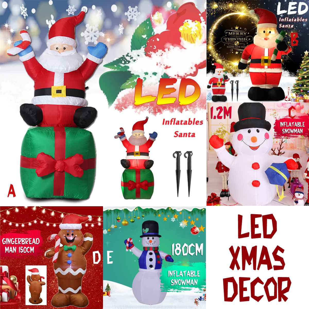 1.2 1.8m Decor Figure LED Air Inflatable Crutches Santa Snowman Claus With Blower Garden Outdoor Layout Christmas Classic Toys