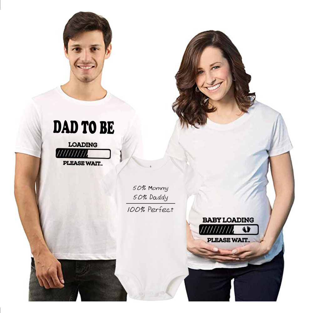 1pc Dad/ Baby To Be Loading Pls Wait Preganant Anouncement Family Tshirt Perfect Baby Rompers Fashion Family Clothes Wear
