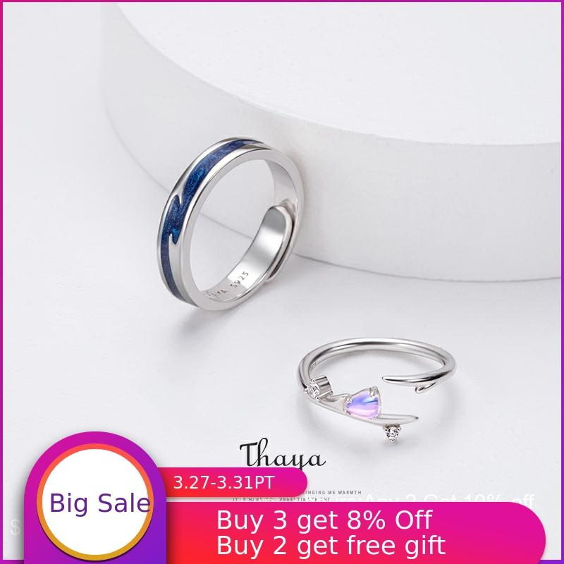 Thaya Falling Love Adjustable Couple Rings 925 Silver Chromatic Rings For Women Engagement Gift