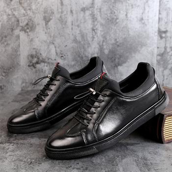 Marka męskie buty z prawdziwej skóry mężczyźni mieszkania miękkie oksfordzie buty zasznurować góry na zewnątrz jakości na zewnątrz buty mężczyźni Sneakers duży rozmiar 48 tanie i dobre opinie WOSHI Skóra bydlęca Gumowe Lato NONE 8811256 Podstawowe Pasuje prawda na wymiar weź swój normalny rozmiar Masaż Lace-up
