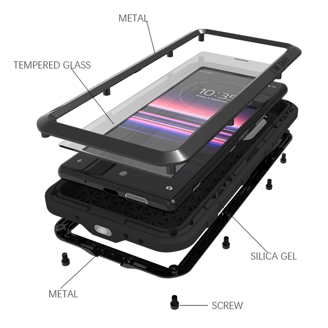 Love Mei Ốp Lưng Kim Loại Dành Cho Sony Xperia 5 Chống Sốc Nắp Lưng Điện Thoại Cho Sony Xperia 5 (6.1 Inch) chắc Chắc Toàn Thân Chống Rơi Ốp Lưng