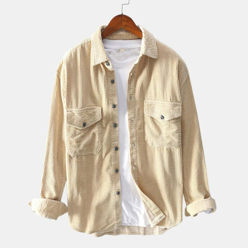 EU Loose Plus Size Mens Retro Collared Tops Casual Corduroy Shirts Long Sleeve Thick Cord Jackets