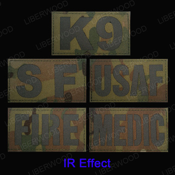 Parche reflectante infrarrojo multicámara K9, Parche táctico con gancho táctico SF USAF FIRE CP, parches DIY para ropa, Parche Militar