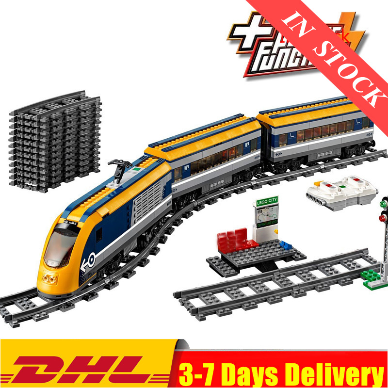 IN Stock 02117 City Figures RC Passenger Train Set with Power Function Building Blocks Bricks Toys Compatible 02118 02009 <font><b>60197</b></font> image