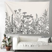 Складное мягкое настенное постельное покрывало для спальни, декорации, гобелен, домашний декор для пикника, цветочные растения, искусство колледжа