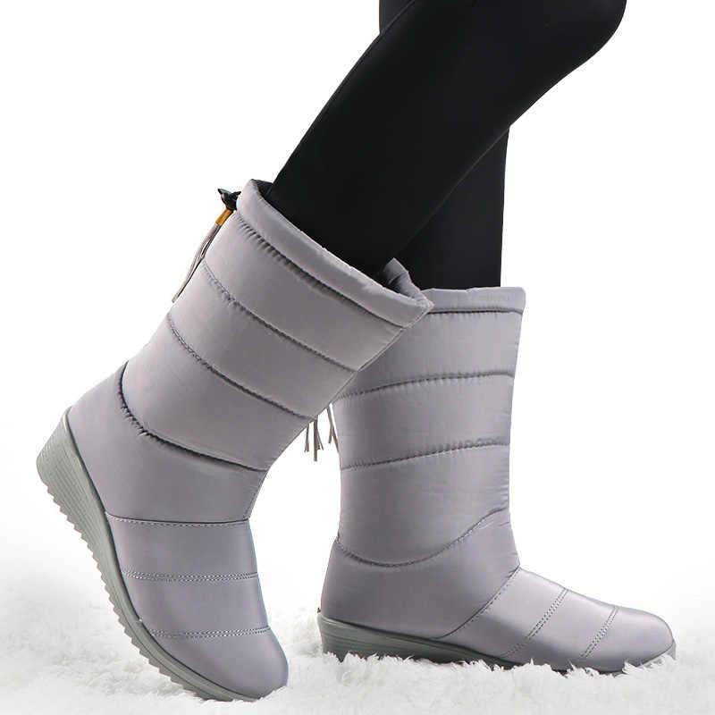Giày Bốt Nữ Nữ Xuống Mùa Đông Giày Viền Ấm Bé Gái Cổ Chân Ủng Nữ Người Phụ Nữ Lông Ấm Áp Botas Mujer