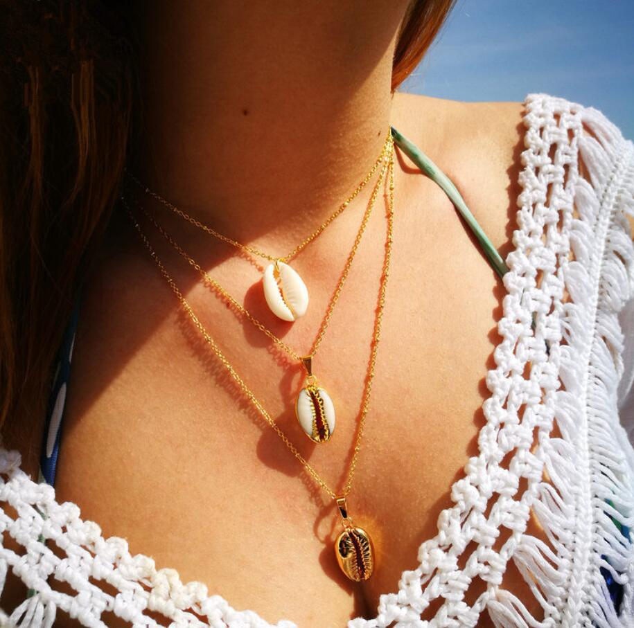 Fashion Natural Beach Sea-Shell Necklace Women New Korean Sea Snail Simple Elegant Layered Chain Necklace Wedding Party Gift