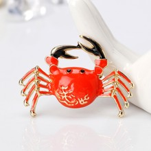Kepiting Bros Pin Perhiasan Wanita Mewah Colorful Red Fashion Dekorasi Korsase LX9D(China)