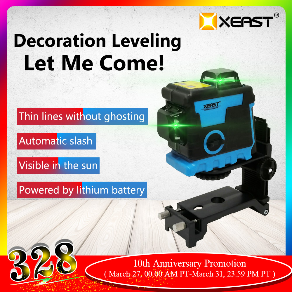 XEAST XE-240 12 Linien 3D Green Laser Level Lithium-Batterie Selbst Nivellierung 360 Horizontale & Vertikale Kreuz Linien Können verwenden Empfänger