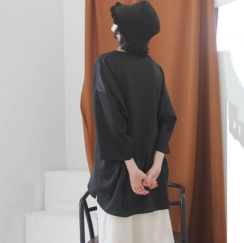 [EAM] Women Black Brief Asymmetrical Big Size Long T-shirt New V-Neck Long Sleeve  Fashion Tide  Spring Autumn 2020 JK987 6
