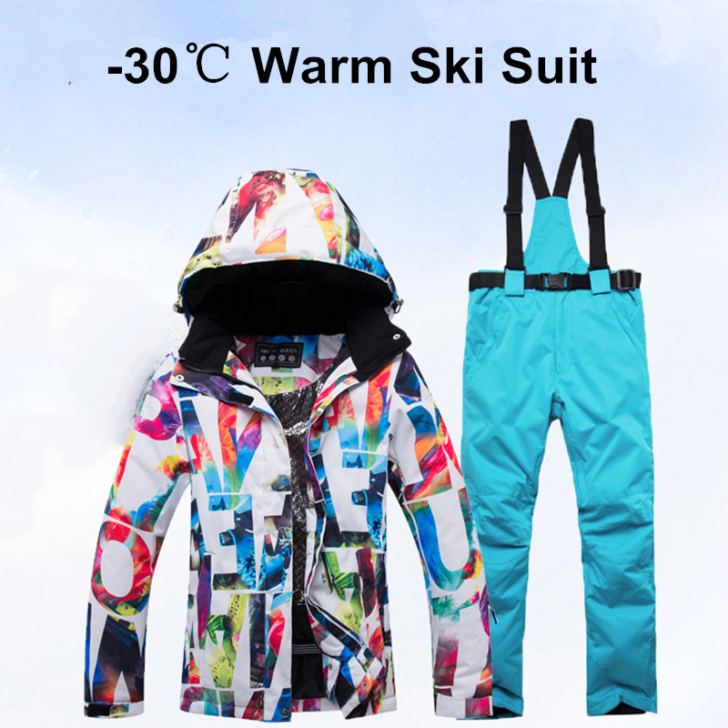 Thick Warm Women Ski Suit -30 Degrees  Waterproof Windproof Skiing And Snowboarding Jacket Pants Set Snow Costumes Outdoor Wear