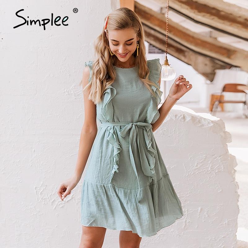 Simplee Elegant Ruffled Women Summer Dress Solid Chiffon Female Sleeveless Holiday Short Sundress Summer Beach Ladies Mini Dress
