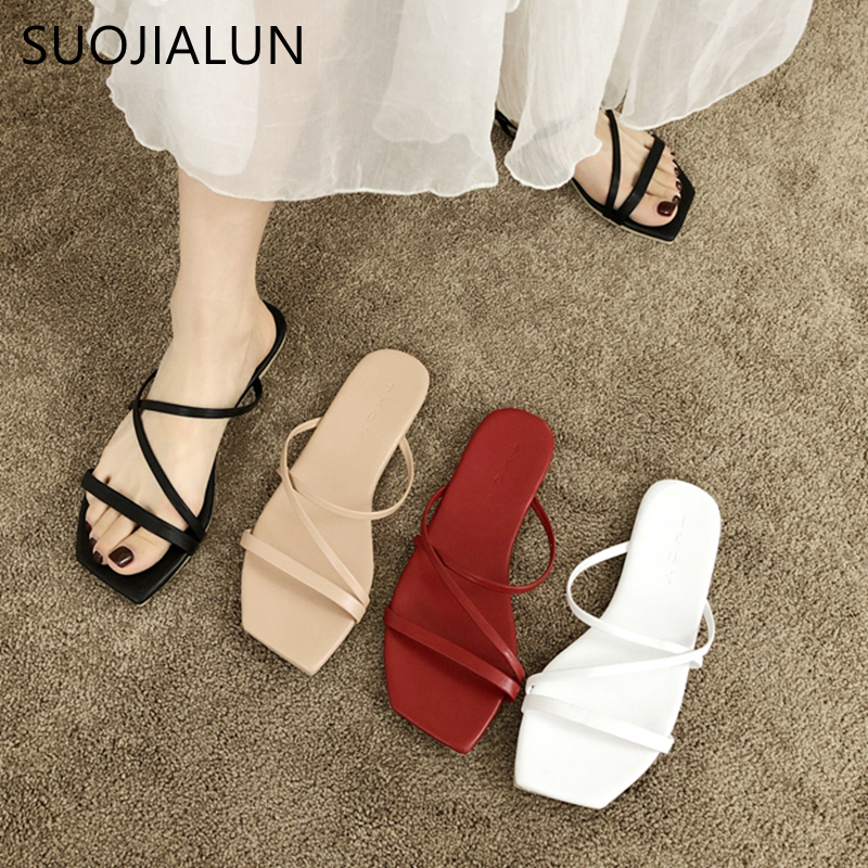 SUOJIALUN Women Brand Slippers Fashion Narrow Band Summer Slides Open Toe Flat Casual Shoes Outdoor Beach Sandal Shoes