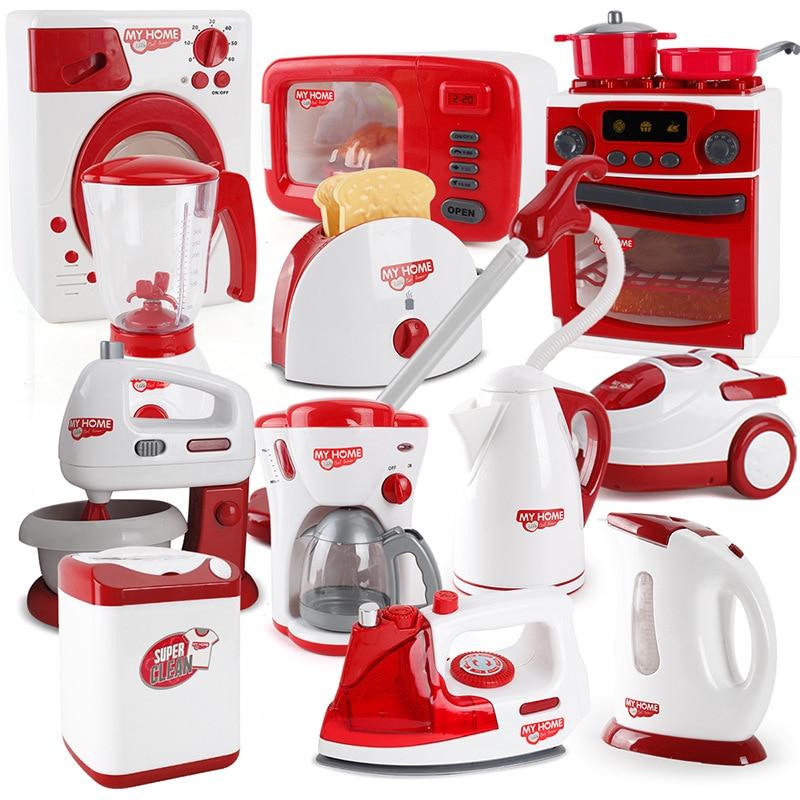 Kids Kitchen Toys Pretend Play Simulation Home Appliances Toys For Girls Light-up&Sound Coffee Machine Blender Kid Children Gift
