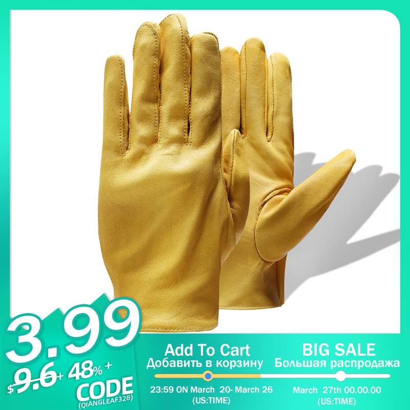 QIANGLEAF Brand New Yellow Work Drivers Gloves Gardening Household Work Cowhide Leather Safety Working Glove Men&Women 130NP