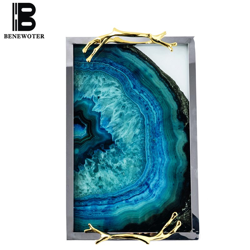 Creative Nordic Blue Agate Pattern Jewelry Display Tray Cosmetic