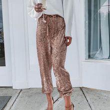 Золотые блестящие широкие штаны с блестками, женские повседневные штаны-шаровары для рождественской вечеринки, штаны с высокой талией на шнуровке, уличная одежда