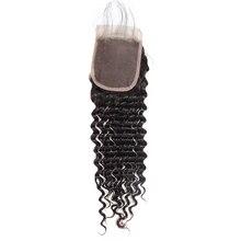 Eseewigs Deep Wave Brazilian Hair 4*4 Lace Closure Human Hair Swiss Lace Toupee For Women Virgin Human Hair Swiss Lace Closure