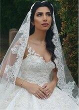 Nova chegada 4m catedral casamento nupcial véus apliques borda do laço longo rosto véu uma camada noiva voile acessórios de casamento 2020