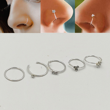 925 Sterling Silver Mixed Design  Hoop Nose Ring  Septum Lip Rings Helix Conch Cartilage Body Piercing Jewelry 20pcs/pack