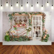 Mehofond fundo da fotografia do vintage tijolo parede ppring flores plantas aniversário chá de fraldas pano de fundo photocall photo studio