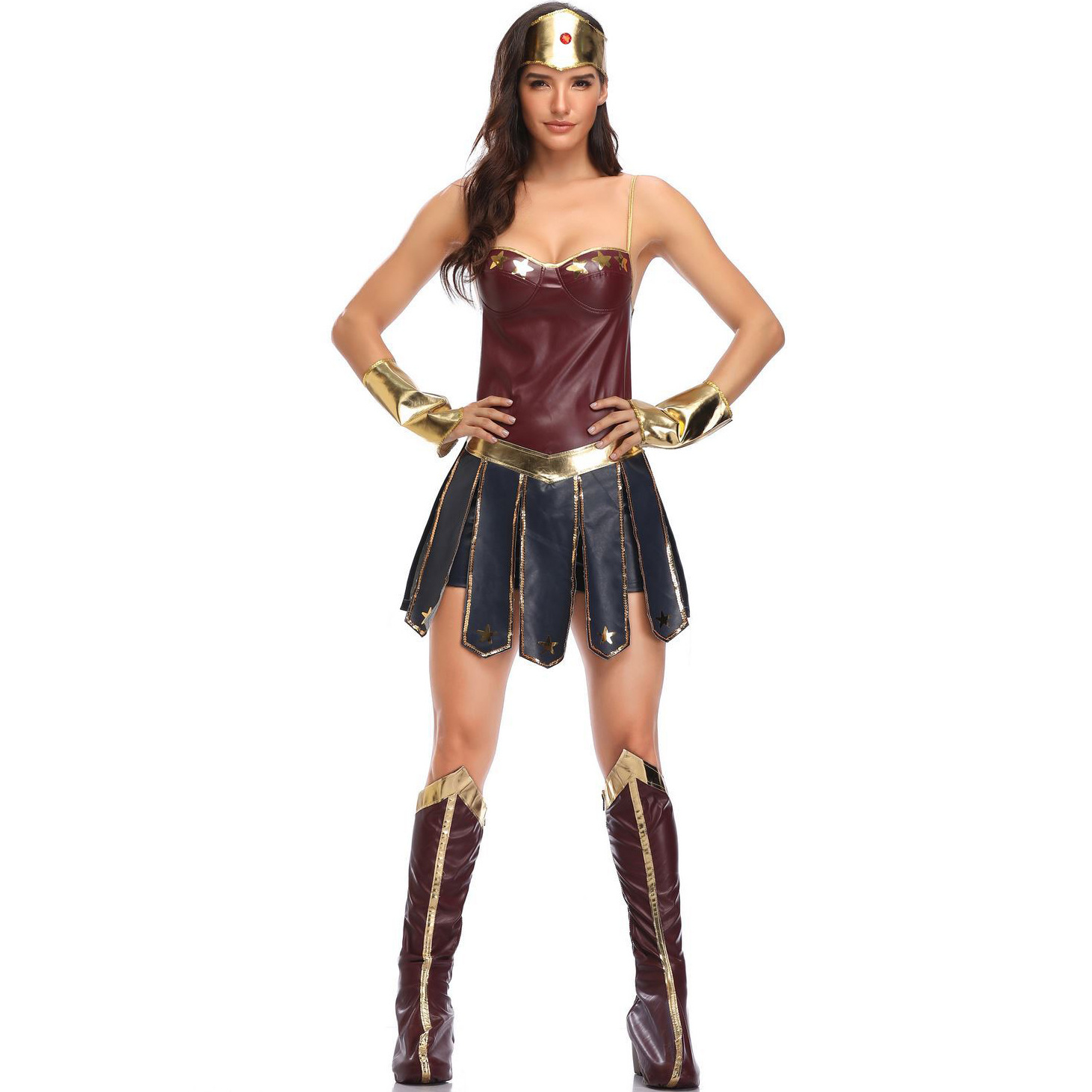 Justice League Superhero Wonder Woman Diana Prince Female Cosplay Costume, Halloween Game Sexy Adult Women Apparel